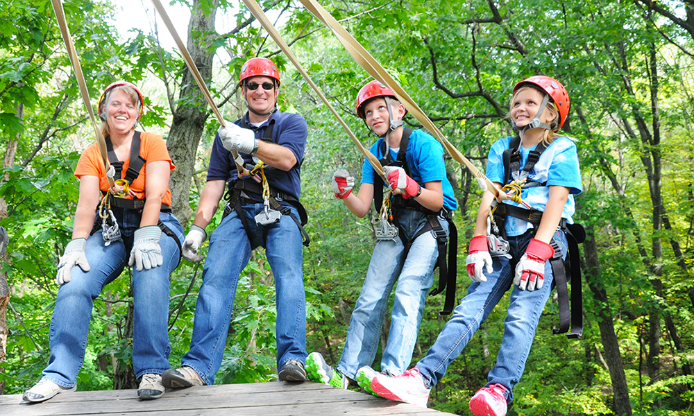 Family Hanging Out at Lake Geneva Canopy Tours