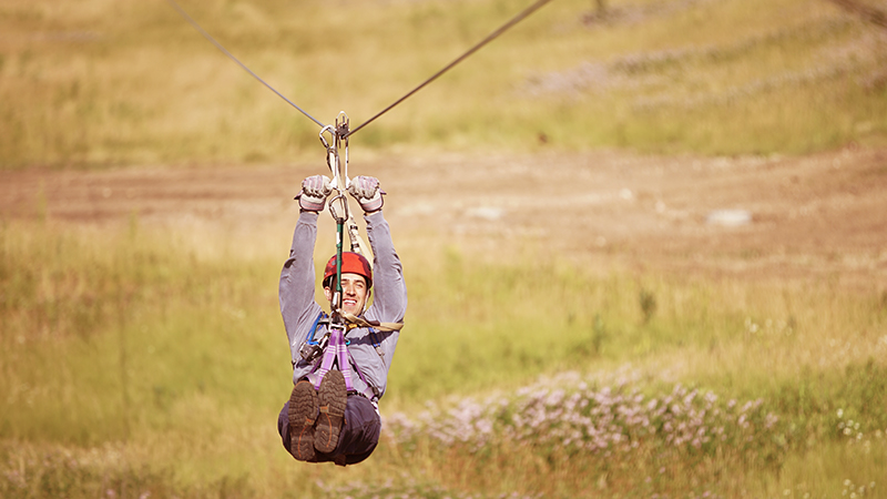 #OptOutside on our thrilling racing zip line