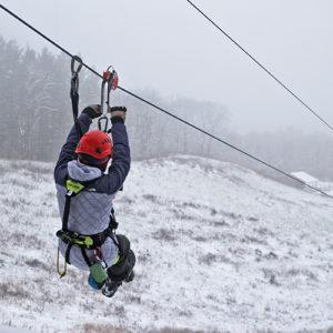 Winter Zip Line in Lake Geneva